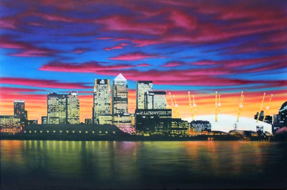 Canary Wharf Daytime, oil and acrylics on canvas, 3' x 2'Acrylic Paintings Sunset